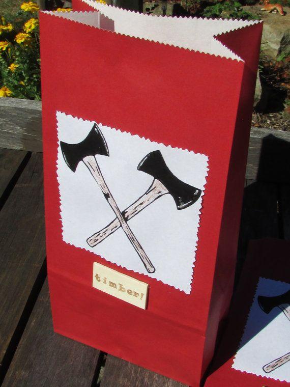 Lumberjack Favor Bags Lumberjack Treat Bags by SamsSweetArt