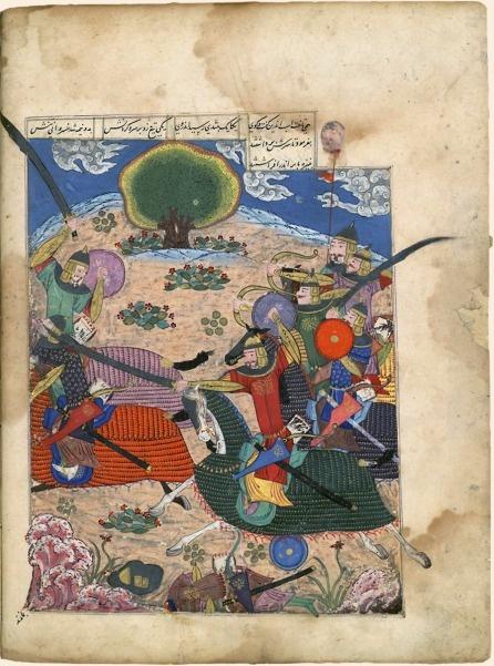 Iranian miniature of one of Tamerlane's battles in Persia.- Ferdowsi, Shâhnâmeh (Le Livre des rois) Chirâz (Iran), 1444. Papier, 671 f., 38,5 × 27,5 cm BnF, département des Manuscrits, supplément persan 494, f. 30 v°