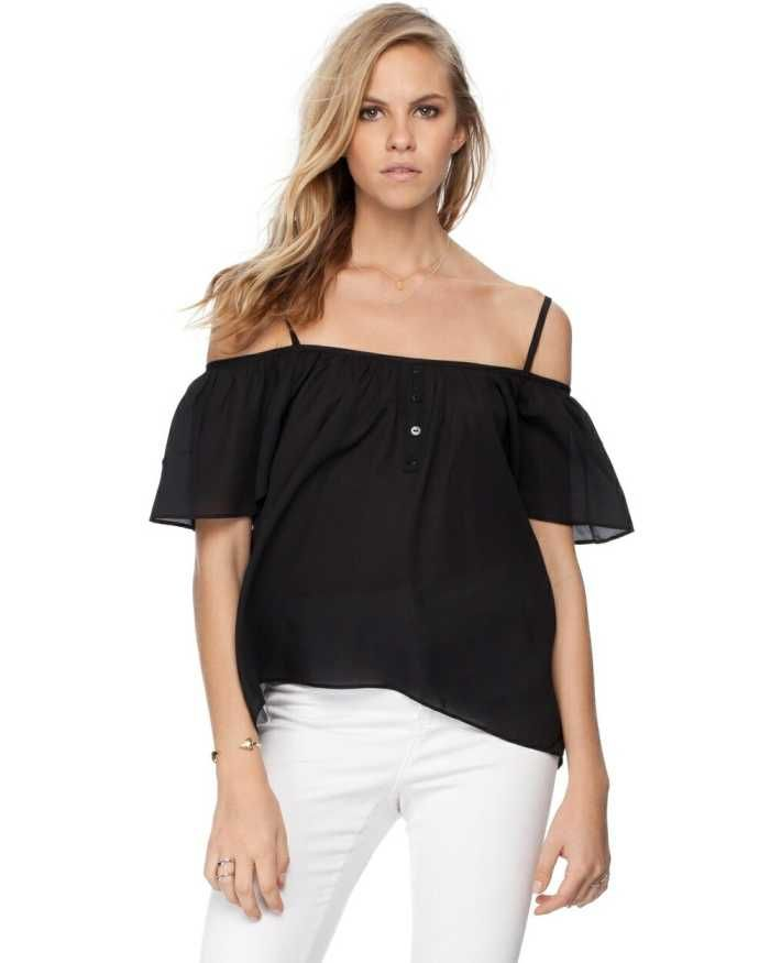 the Zalora Basics Flutter Sleeve Cold Shoulder Cami features off-the-shoulder butterfly sleeves and a lightweight, semi-sheer fabrication.  $19.95