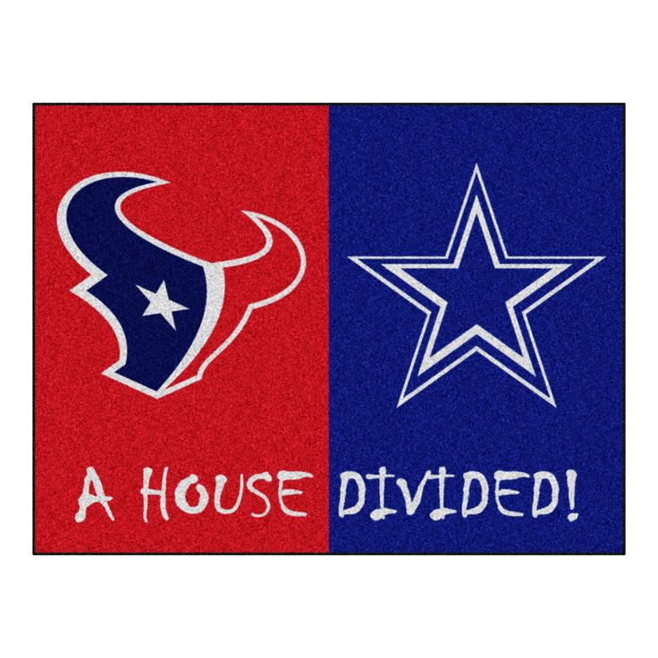 Houston Texans - Dallas Cowboys NFL House Divided Rugs 33.75x42.5