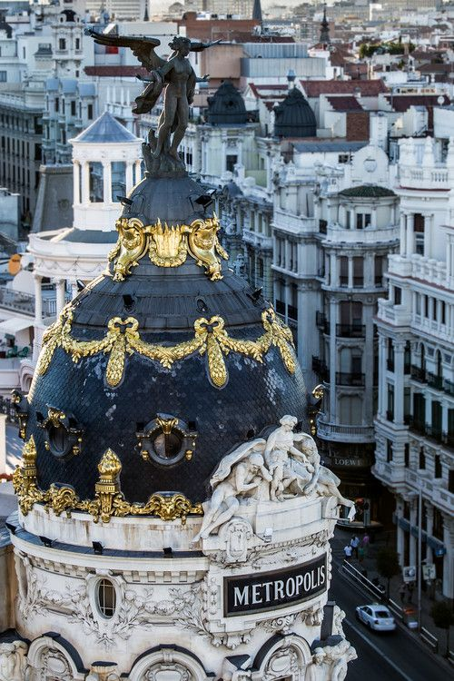 More like exteriors, but you get it.: Paris, Madrid Spain, Madridspain, Offices Building, Madrid, Places I D, Gold Accent, Architecture, Spain Travel