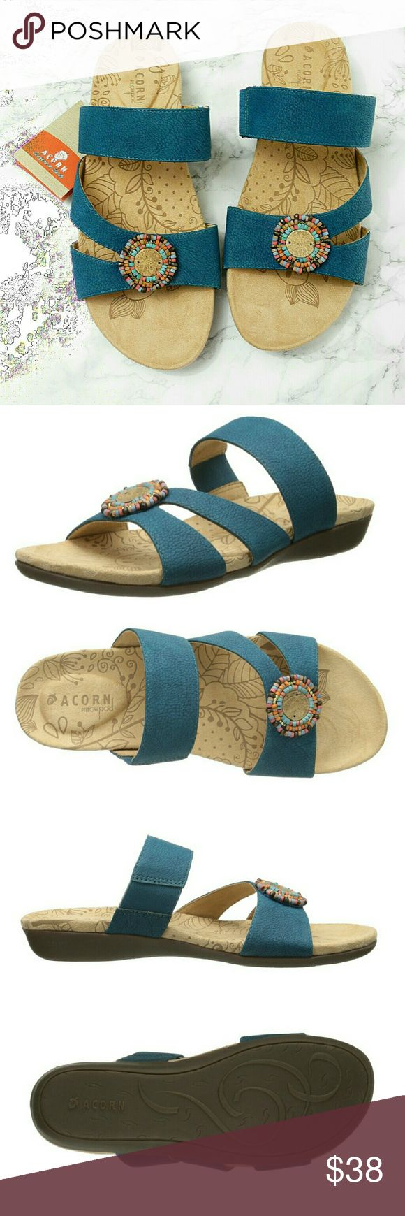 ☡ Mega Sale! Beaded Colorful Boho Sandals by Acorn Brand NWT! The most comfortable sandals you'll ever own! These boho-inspired sandals by Acorn feature a padded footbed (they call it the pillow pod!), colorful beaded mandalas at toe, & a triple strap design in lovely teal blue-green.  Huge discount off retail, in a hard to find color & style! Size 10 fits TTS. Comment with any questions.  No additional discount. No trades! Acorn Shoes Sandals