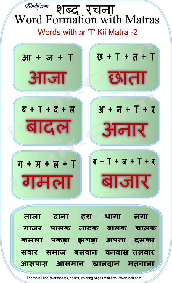 Hindi Words with आ ki matra
