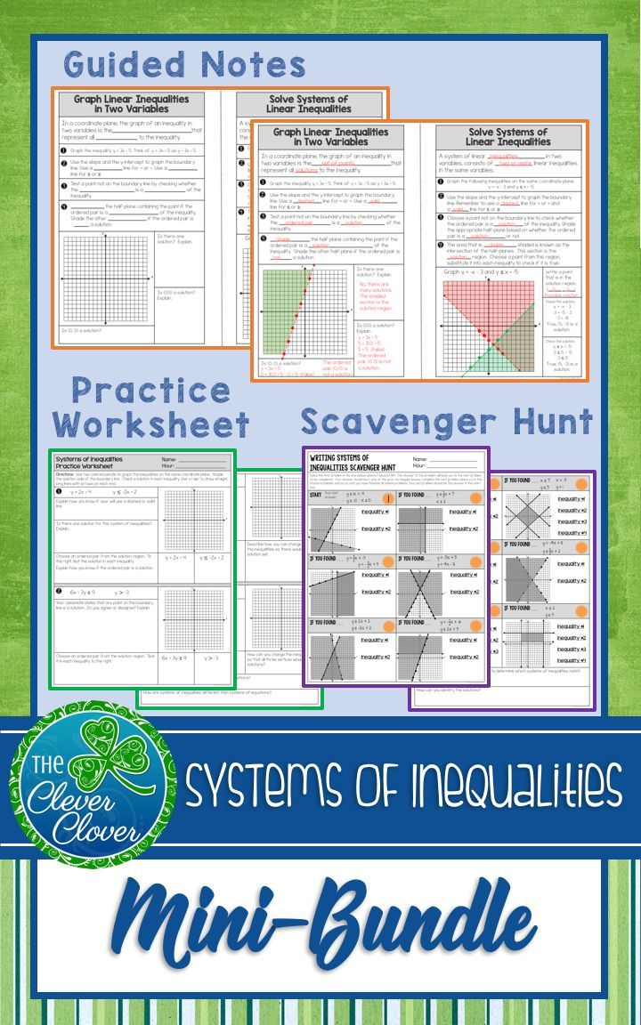 Guided Notes Worksheets And A Self Checking Scavenger Hunt On Systems Of Inequalities This Resource C Graphing Inequalities Guided Notes Writing Inequalities