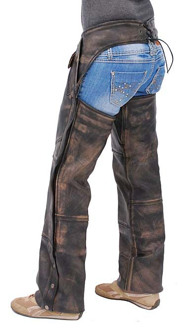 Women's Long Body Extreme Vintage Brown Leather Motorcycle Chaps with Removable Linings