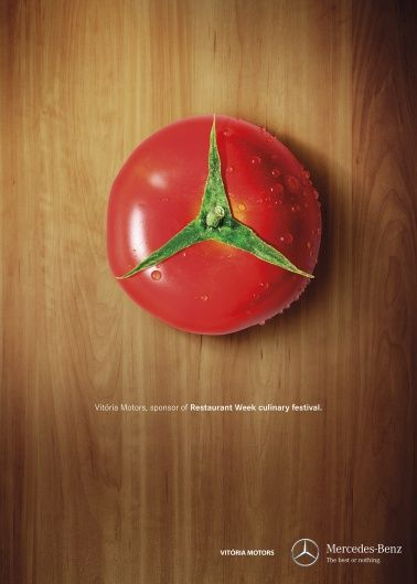 Tomato....as mercedes...#car,#luxury,#print,#advertisement,#festival,#food