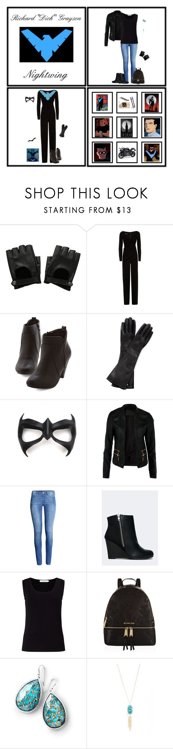 """""""Inspired by Richard """"Dick"""" Grayson/Nightwing (1252)"""" by trufflelover ❤ liked on Polyvore featuring Hot Topic, Talbot Runhof, Kawasaki, Sportmax, Masquerade, H&M, Report, John Lewis, MICHAEL Michael Kors and Ippolita"""