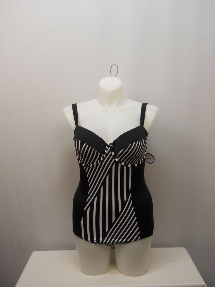SIZE 16 Women 1PC Striped Retro Swimsuit TROPICULTURE Underwire Sweetheart Neck #TROPICULTURE #OnePiece