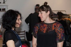 The designer Orsola de Castro (from somewhere) and Lizzie Harrison (Antiform) who showcased their collection in the British Upcycling Showroom. Picture by Rafael Poschmann