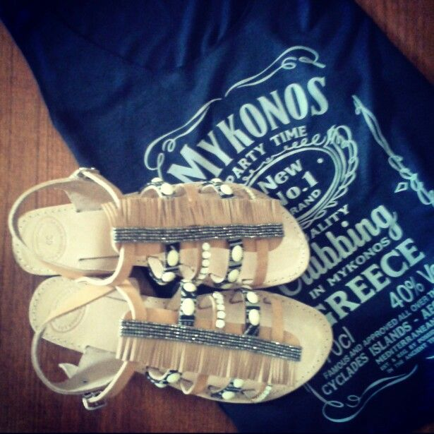 Sandals decorated in boho style.Perfect for summer. Elenas Sandals