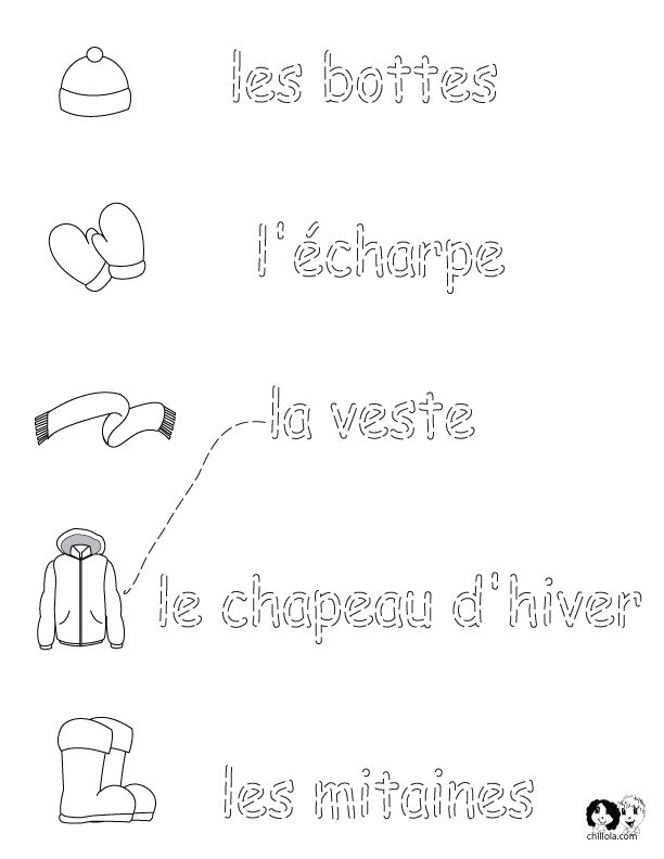 French Winter Clothes - Worksheets - English for Children - French for Children - German for Children - Spanish for Children - Italian for Children - Language Printouts & Activities www.chillola.com