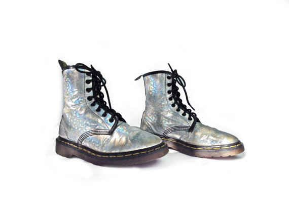 These hologram Dr Martens suggest that certain elements of punk subculture were adopted by rave sects.