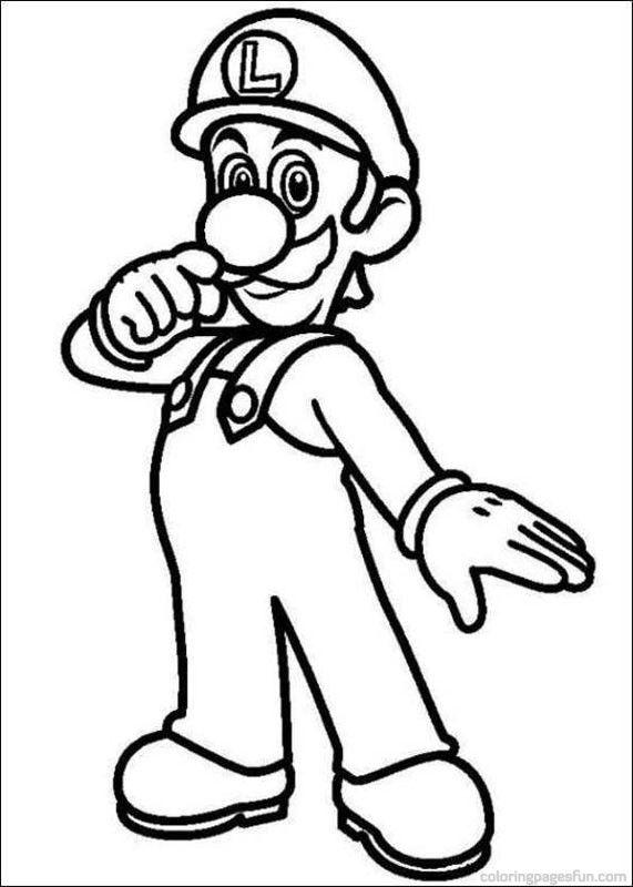 Printable Coloring Page Luigi