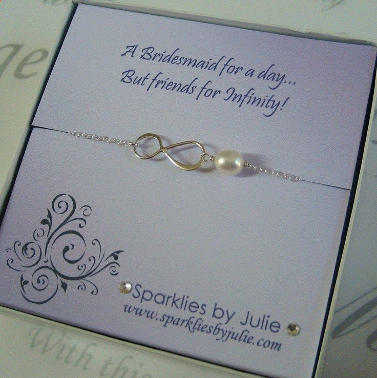 wedding invitation date wording etiquette%0A Friends for Infinity  Fancy Bridesmaids Invitation with Silver Infinity  bracelet  Thank You Gift