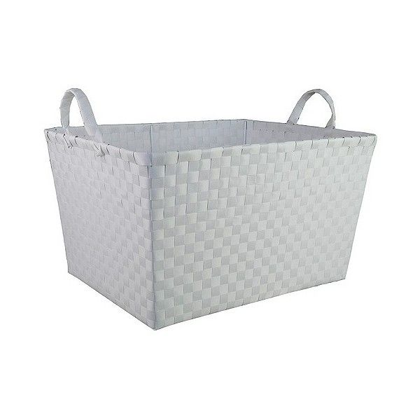 Woven Storage Bin Rectangular White ($15) ❤ liked on Polyvore featuring home, home decor, small item storage, white, rectangular bin, woven storage bins, white storage baskets, rectangular storage bins and storage bins