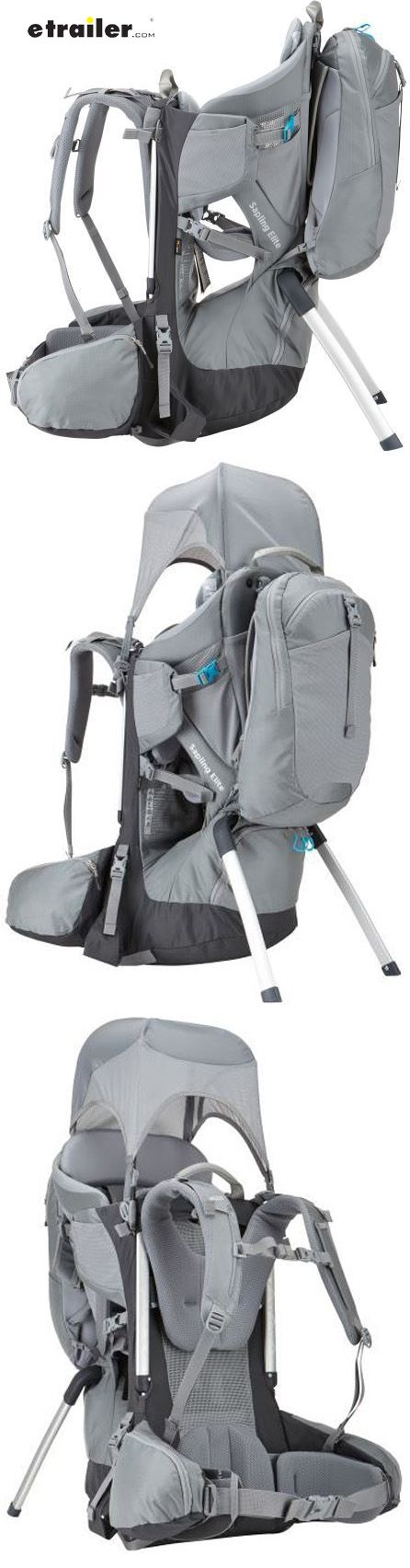 Thule Sapling Elite baby carrier lets you bring your infant hiking. Includes a removable backpack, oversized hip pockets, a 3-liter reservoir sleeve, a child-viewing mirror, and a sun shade. Adjustable straps make it easy to switch off carrying duty.