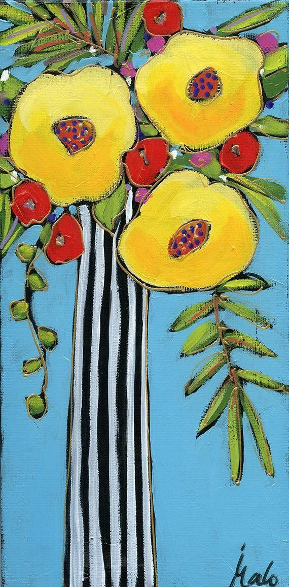Original Acrylic Painting On Canvas Flowers Vase Home Decor