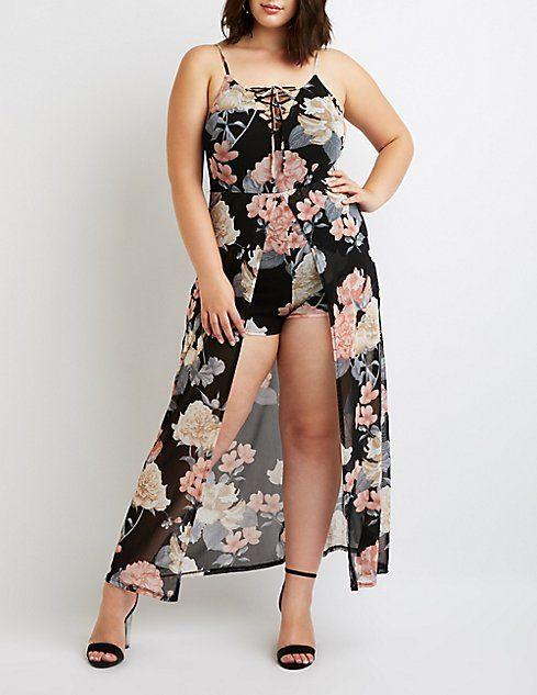 359f4362d855 Plus Size Floral Lattice-Front Layered Maxi Romper