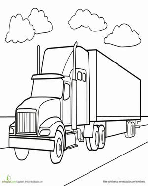 Semi truck coloring page coloring pages pinterest for Tractor template to print