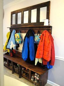 mudroom storage bench made from kitchen cabinets, laundry rooms, painted furniture, Plenty of coat and backpack storage