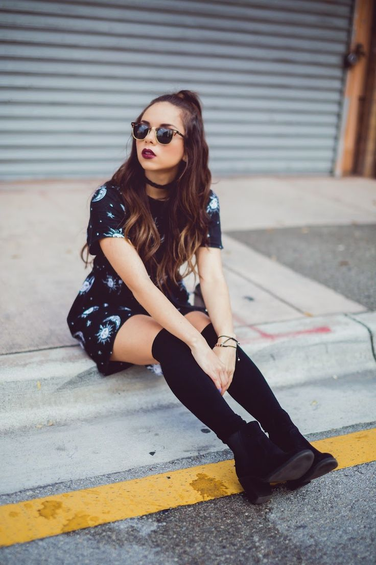 Grunge outfit #2: Babydoll dress, burgundy lipstick, knee socks, ankle booties, thigh high socks, sunglasses - The craft.. BY DANIELA R.