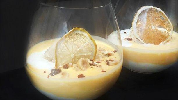 Natillas de calabaza con helado de canela y cremoso de leche merengada