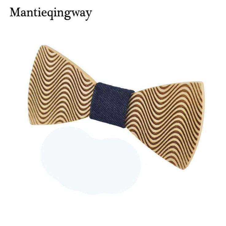 Mantieqingway Formal Wear Business Wood Bow Tie Skinny Necktie Accessories Fashion Casual Solid Wooden Bow Tie for Men Wedding