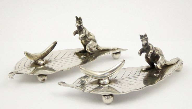 Pair of Antique Silver Plated EPNS Knife Rests with Kangaroo on Gumleaf and Boomerang - The Collectors Bag