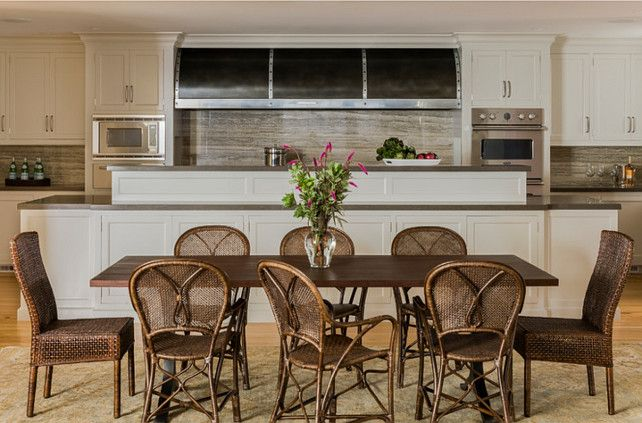 House Tour: Gloucester, MA - Design Chic - love the stainless hood in the beach house kitchen - great dining area!