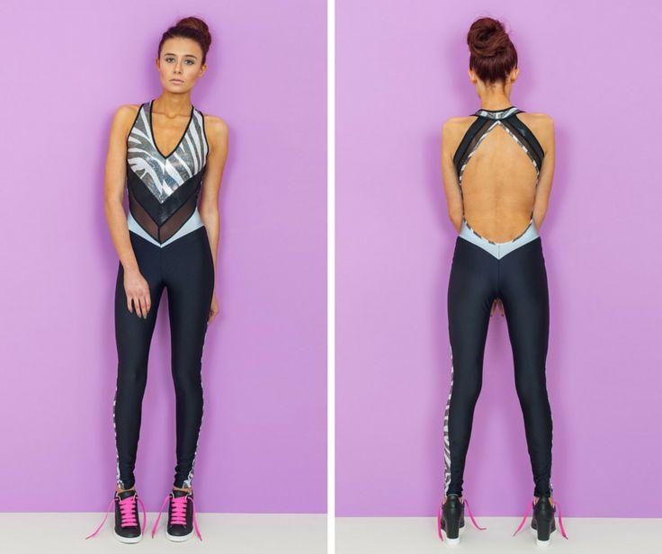 Zulu Disco Backless Catsuit. Festival Outfit. Catsuit. Backless. Zebra. Animal Print. Black. Reflective Panels. By Burnt Soul