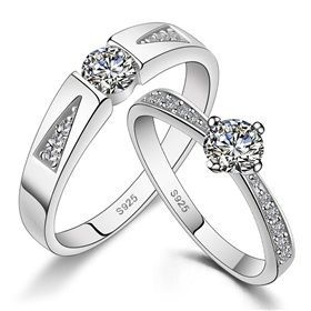 His  Hers Matching Couple Sterling Silver Rings CZ Wedding Band Set on Yoyoon.com. Make every day valentine's day!