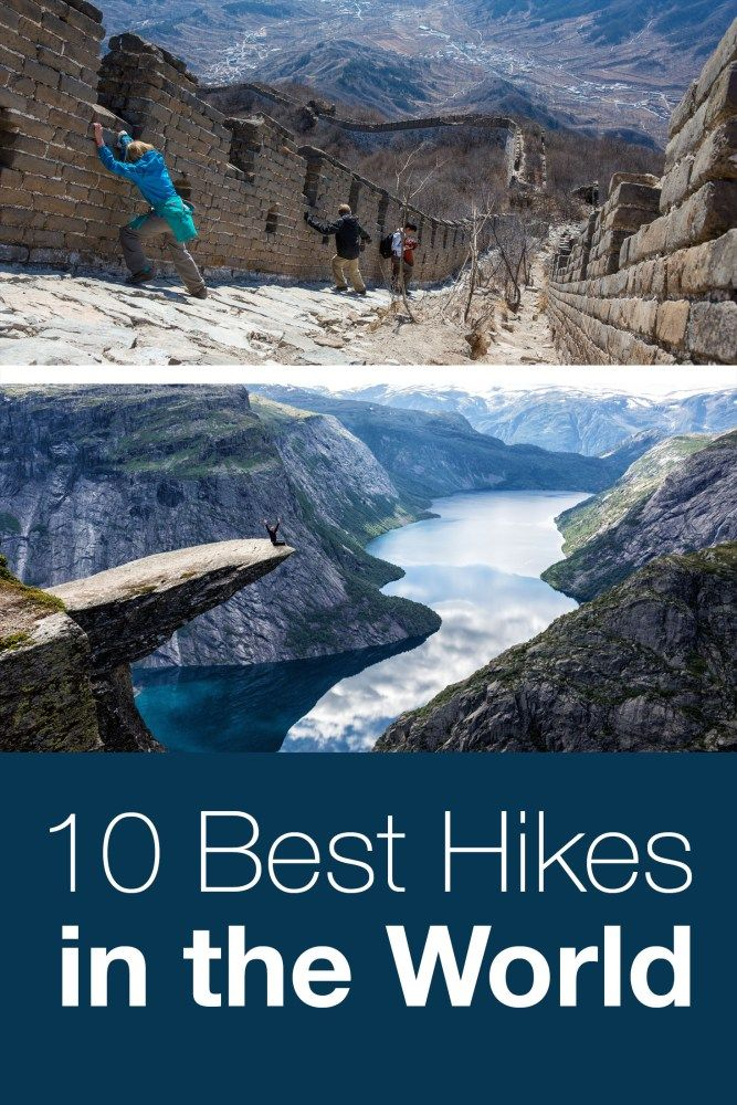 10 Best day hikes in the world. Covering 6 continents, here are 10 hikes that should be on your bucket list. Trolltunga, the Great Wall of China, Inca Trail, Dolomites, Kjeragbolten, Tiger's Nest, and more. #hiking #bucketlist #norway