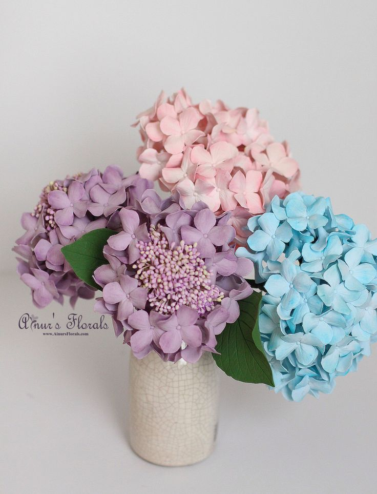 Pink Purple Blue Hydrangeas Bouquet, Hydrangeas Centerpiece Flower Arrangement, Wedding Flower Ideas by AinursFlorals on Etsy https://www.etsy.com/listing/226854220/pink-purple-blue-hydrangeas-bouquet