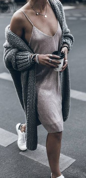 cami lurex dress. chunky knit cardigan. adidas sneakers. stan smith.
