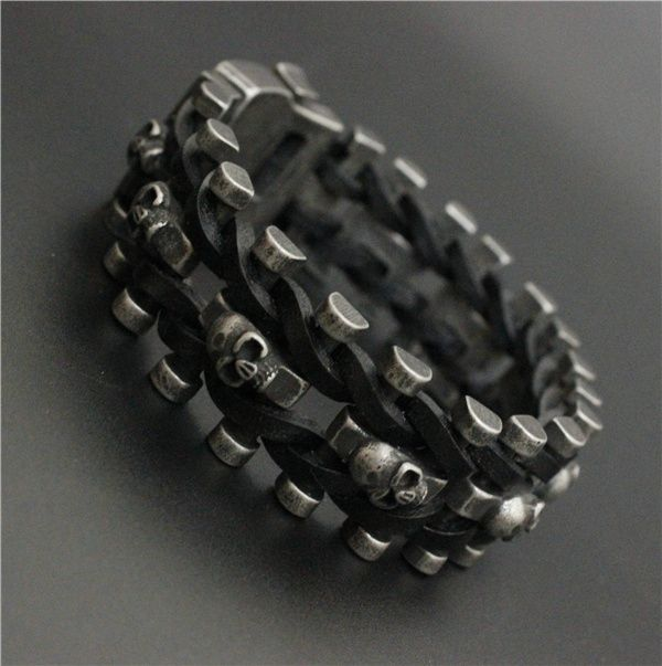 Iron Leather Buckle Skull Biker Bracelet //Price: $30.69 & FREE Shipping //     #skull #skullinspiration #skullobsession #skulls