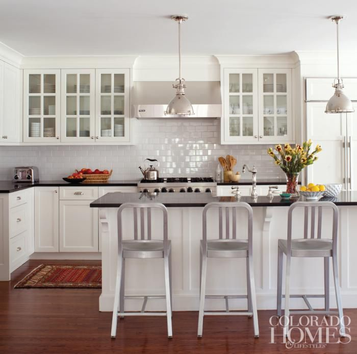 White Cabinets Gray Subway Tile Kashmir White Granite: White Subway Tile Backsplashes And Honed Black Granite Countertops Make For A Clean, Timeless