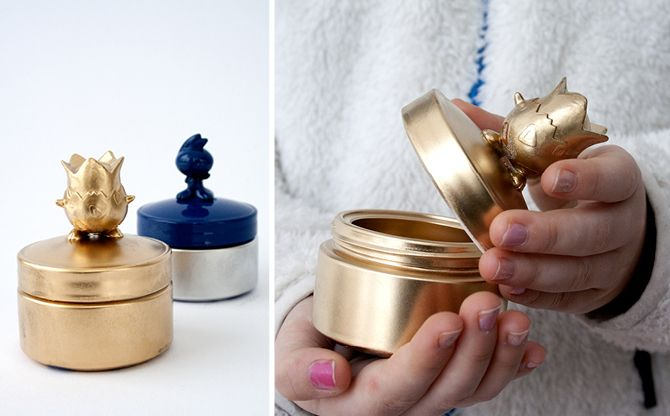 glass moisturizer jars and plastic toys repurposed as glammed up treasure boxes
