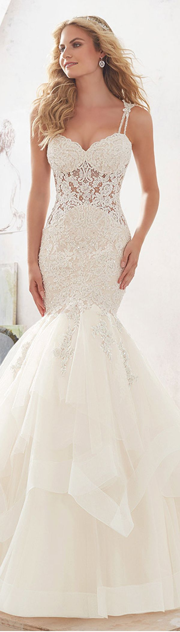 Junoesque Tulle & Satin Spaghetti Straps See-through Mermaid Wedding Dresses With Lace Appliques