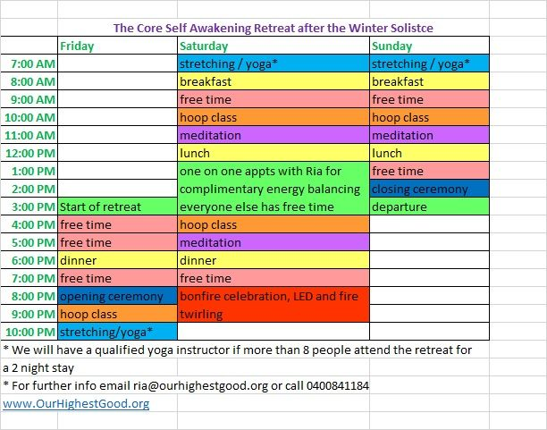 Here is the schedule for the Core Self Awakening Retreat run by Our Highest Good. The location of our first retreat on 26-28 June '15 will be Otford, just an hour south of Sydney, Australia.