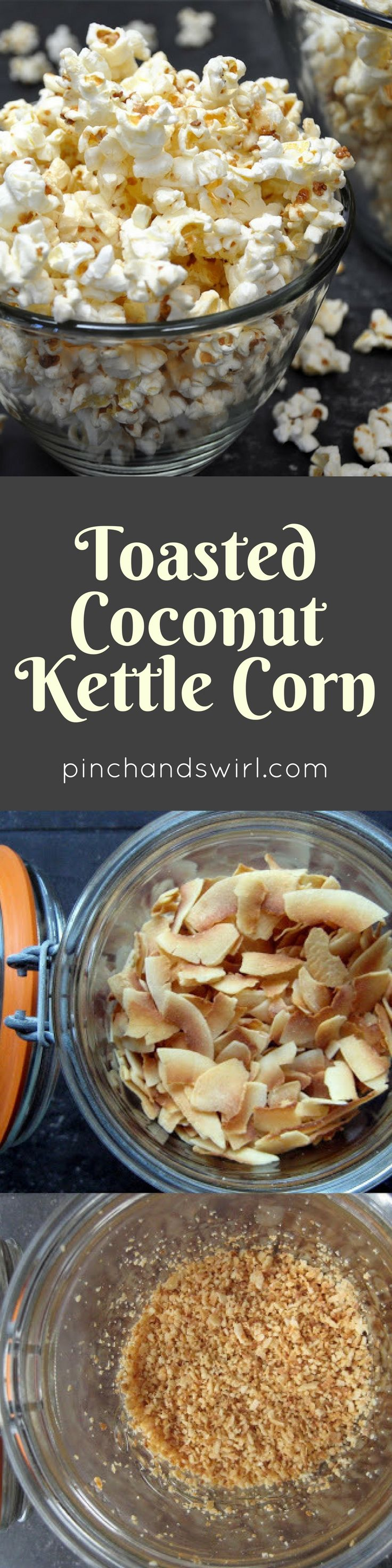 Coconut oil kettle corn is a recipe twist on traditional kettle corn, popping pop corn in coconut oil along with toasted coconut, salt and sugar gives crispy popcorn a delicate crunchy, salty sweet coating. Such an easy snack recipe that is an all-ages crowd pleaser!