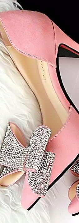 Pink pump with rhinestone bow. Could be a beautiful wedding shoe for a little something different!