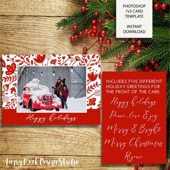 Red Winter Floral Christmas Card