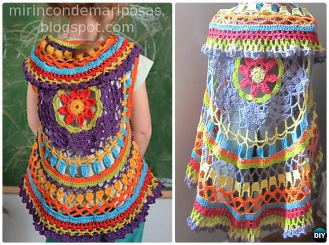 DIY Crochet Circle Shrug Instruction-Crochet Circular Vest Sweater Jacket Free Pattern