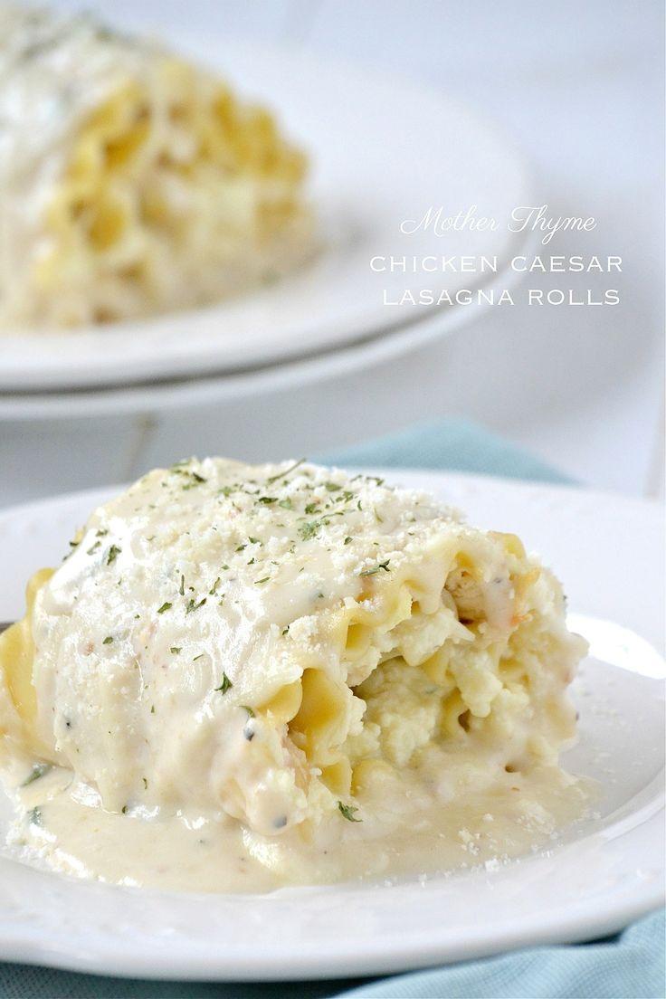 chicken caesar lasagna rollups