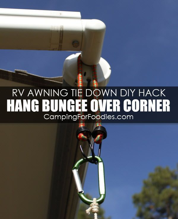 Genius Rv Awning Tie Down Hack How To Diy Video With 5 Simple Supplies Rv Camping Hacks Rv Camping