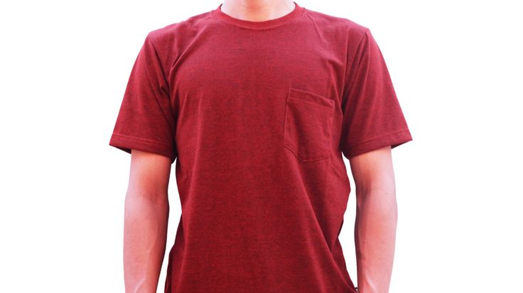 Product in frame: T-Shirt Plain Placket Dark Red