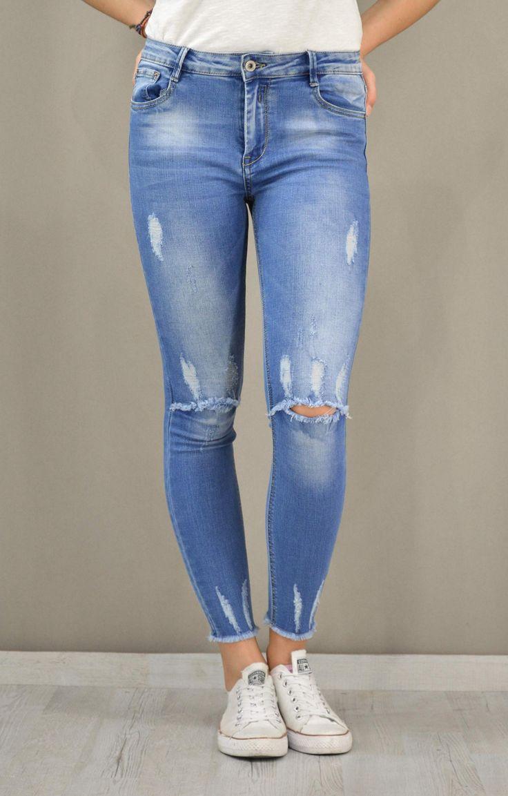 Γυναικείο τζίν skinny με ξέφτια | Παντελόνια jeans - Jeans &