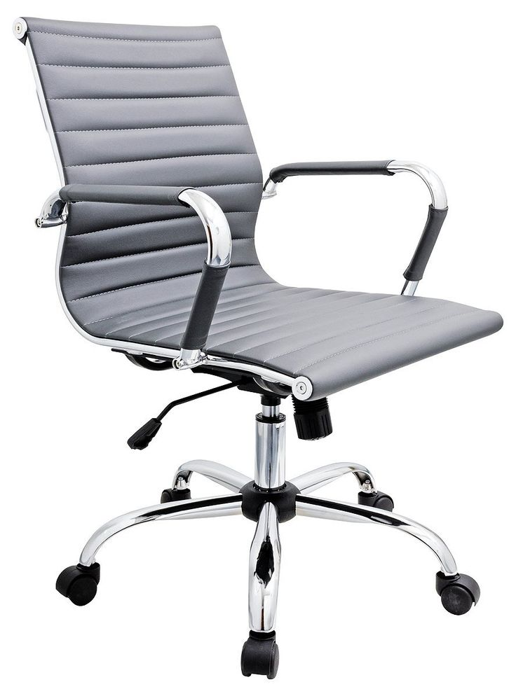Febland grey eames style office chair faux leather