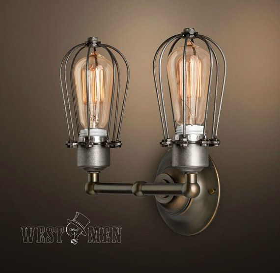 Vintage Wall Lights Double : New Vintage Industrial Double Head Cage Wall by HandmadeLampWorks, USD 88.80 Wall Sconces ...