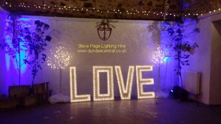 fairy light trees, uplighters and love sign provided by Steve Page: www.dundeecentral.co.uk